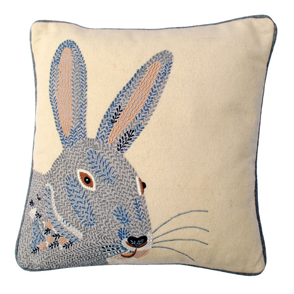 Embroidered-rabbit-cushion