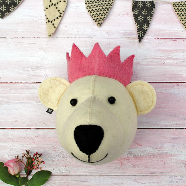 Bear Head with pink crown