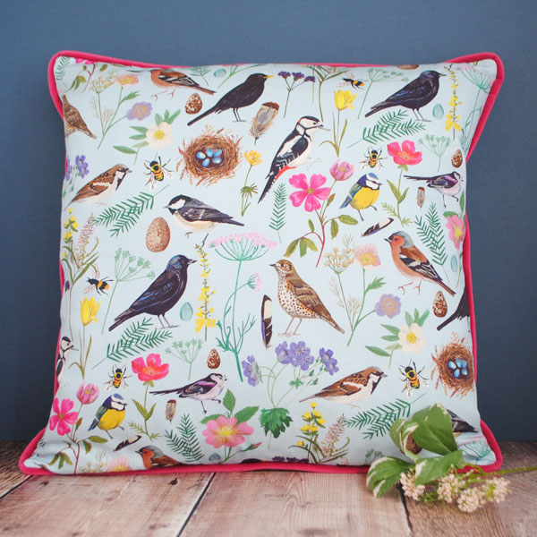 garden birds cushion