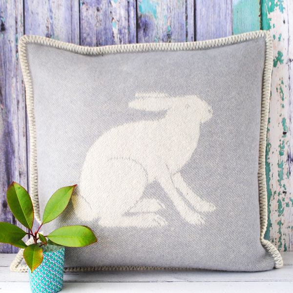 Grey Rabbit Cushion