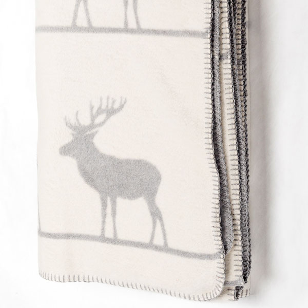 Reindeer Throw white grey