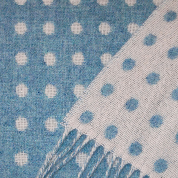 blue spot lambswool throw