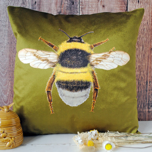 Velvet Bee Cushion