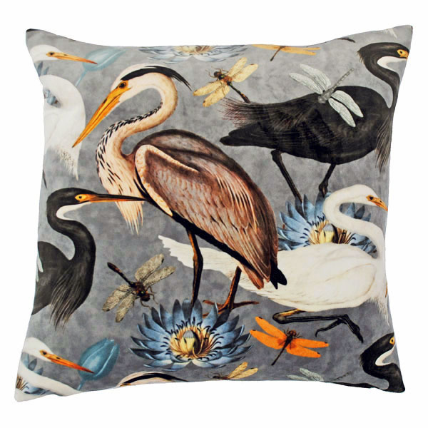 Velvet Waterbirds Cushion