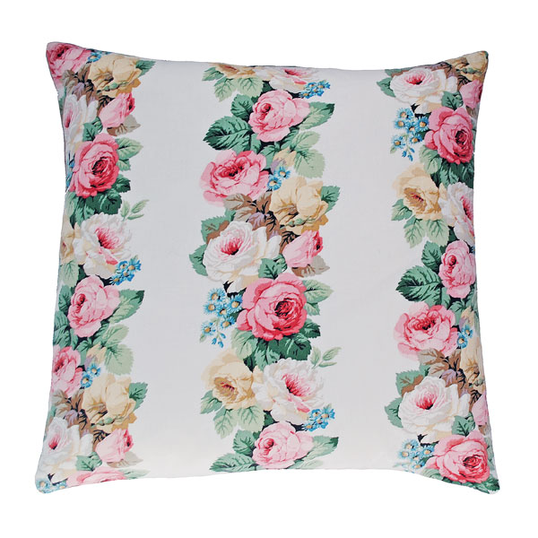 white vintage roses cushion