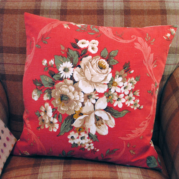 red floral cushion