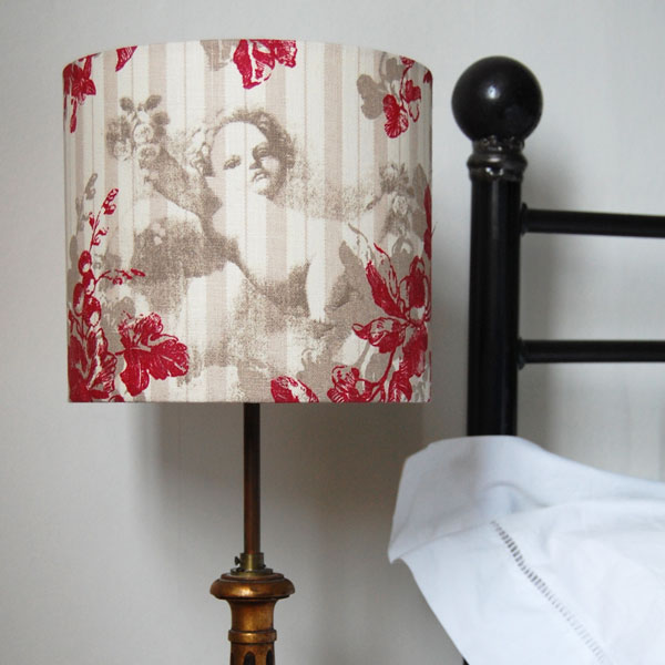 red angelico linen lampshade
